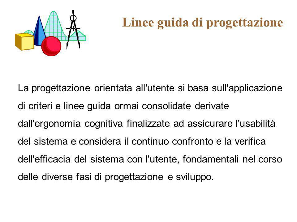 Linee guida di progettazione La progettazione orientata all'utente si basa sull'applicazione di criteri e linee guida ormai consolidate derivate dall'