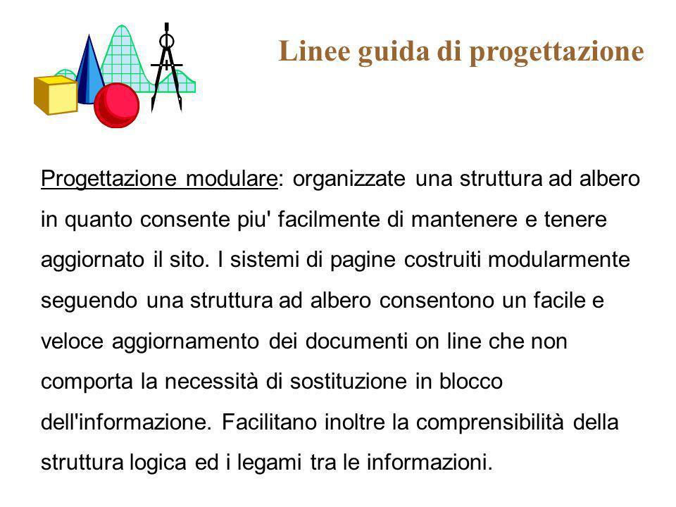 Linee guida di progettazione Progettazione modulare: organizzate una struttura ad albero in quanto consente piu' facilmente di mantenere e tenere aggi