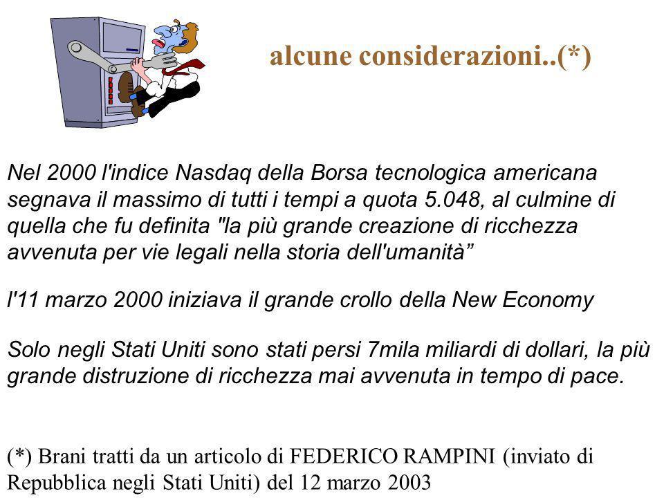 alcune considerazioni..(*) (*) Brani tratti da un articolo di FEDERICO RAMPINI (inviato di Repubblica negli Stati Uniti) del 12 marzo 2003 Nel 2000 l'