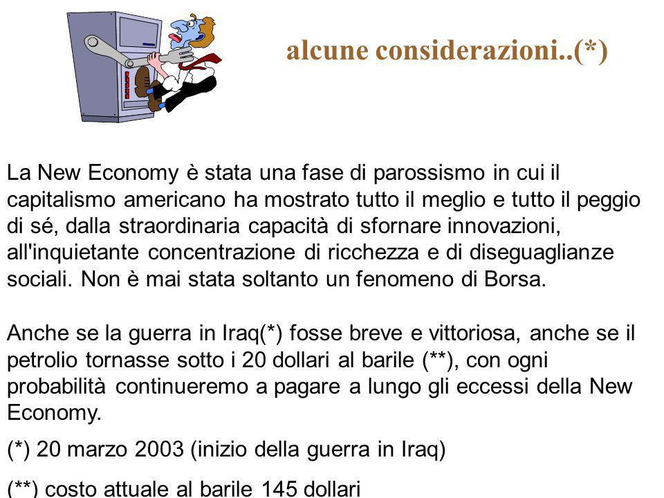 alcune considerazioni..(*) (*) 20 marzo 2003 (inizio della guerra in Iraq) (**) costo attuale al barile 145 dollari La New Economy è stata una fase di
