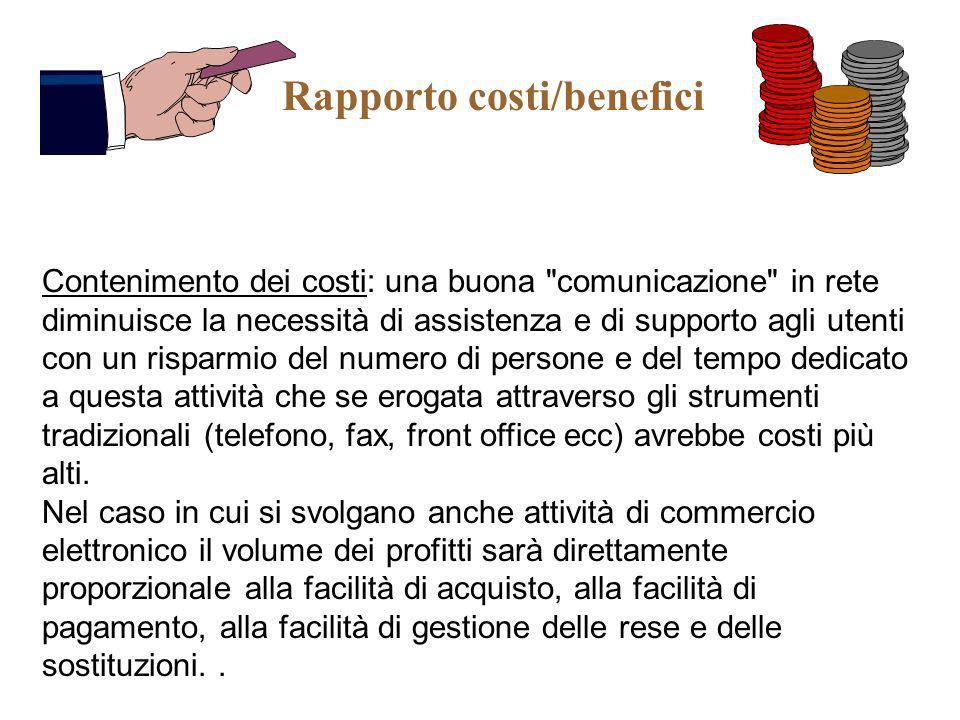 Rapporto costi/benefici Contenimento dei costi: una buona