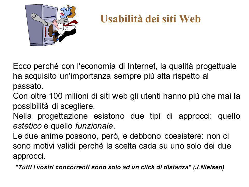 Usabilità dei siti Web Ecco perché con l'economia di Internet, la qualità progettuale ha acquisito un'importanza sempre più alta rispetto al passato.