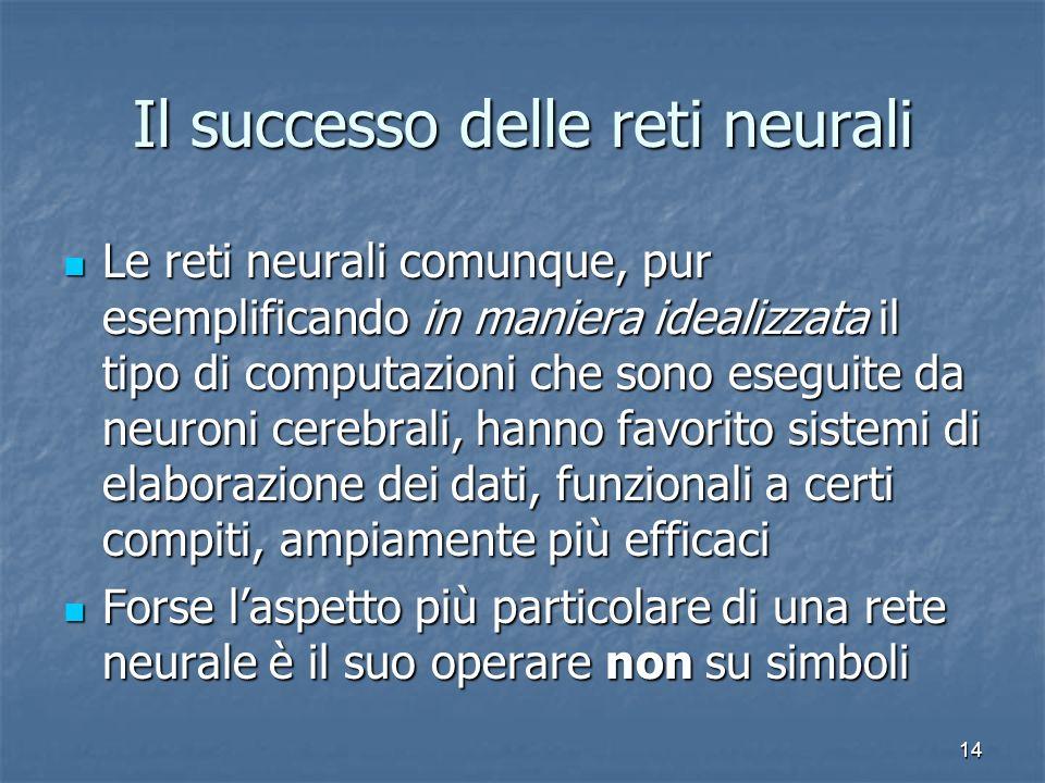 14 Il successo delle reti neurali Le reti neurali comunque, pur esemplificando in maniera idealizzata il tipo di computazioni che sono eseguite da neu