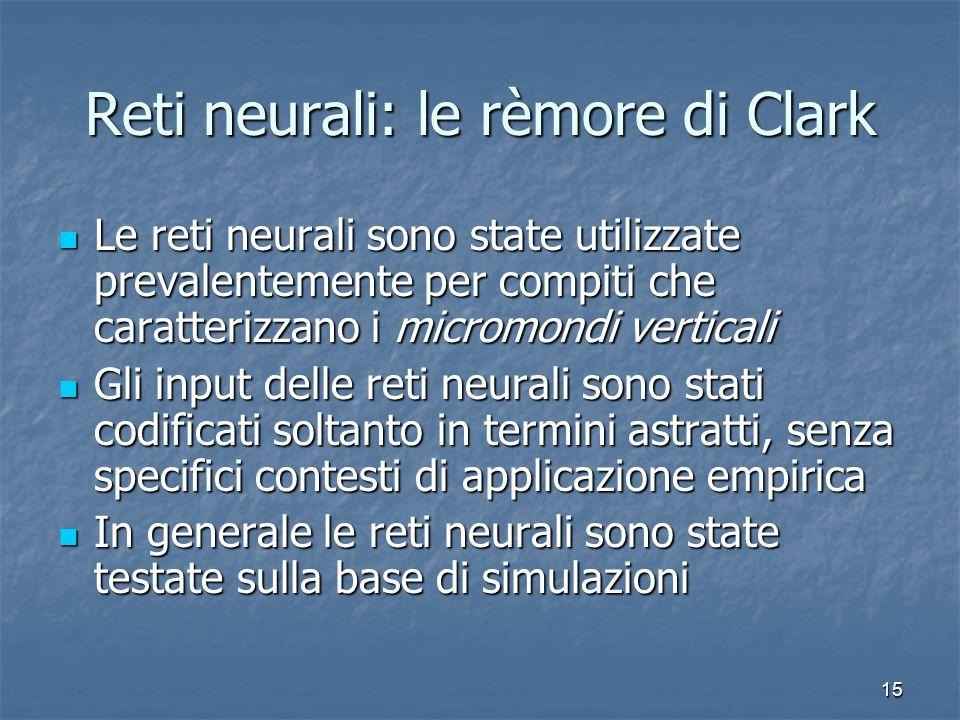 15 Reti neurali: le rèmore di Clark Le reti neurali sono state utilizzate prevalentemente per compiti che caratterizzano i micromondi verticali Le ret