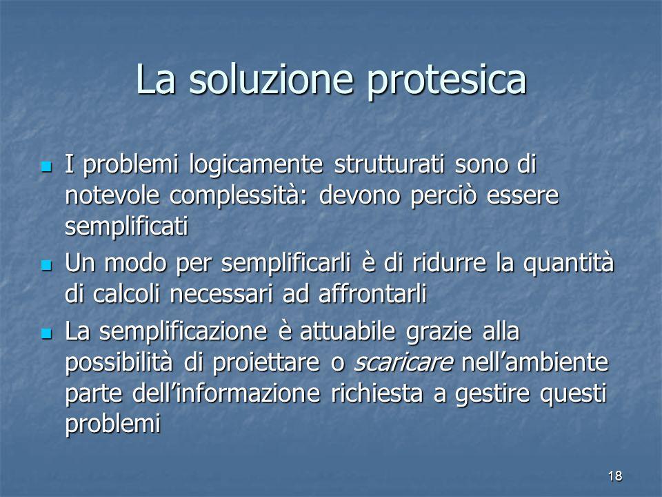 18 La soluzione protesica I problemi logicamente strutturati sono di notevole complessità: devono perciò essere semplificati I problemi logicamente st