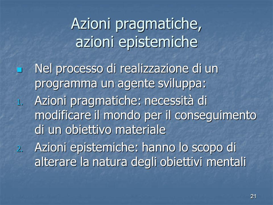 21 Azioni pragmatiche, azioni epistemiche Nel processo di realizzazione di un programma un agente sviluppa: Nel processo di realizzazione di un progra