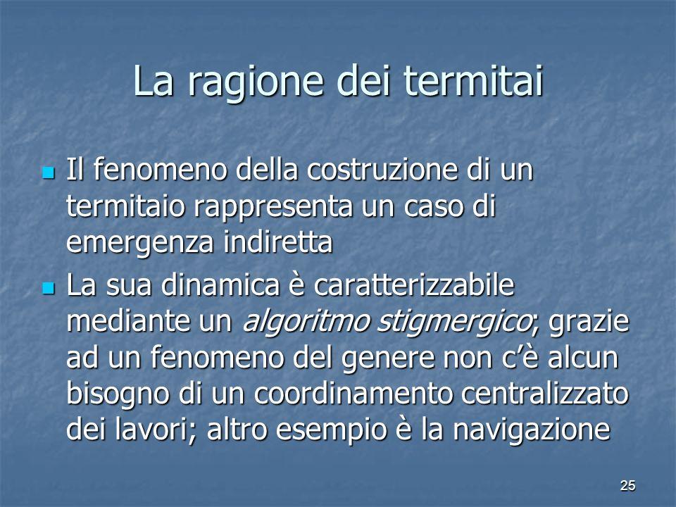 25 La ragione dei termitai Il fenomeno della costruzione di un termitaio rappresenta un caso di emergenza indiretta Il fenomeno della costruzione di u