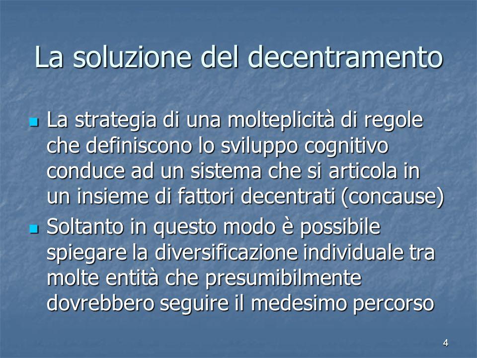 4 La soluzione del decentramento La strategia di una molteplicità di regole che definiscono lo sviluppo cognitivo conduce ad un sistema che si articol