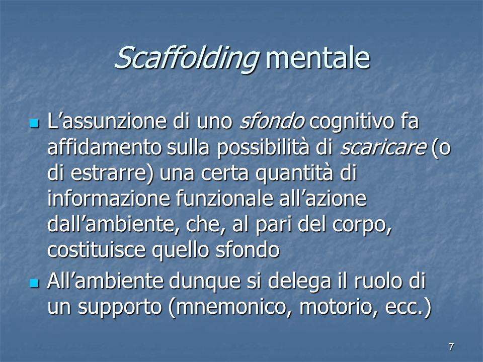 7 Scaffolding mentale Lassunzione di uno sfondo cognitivo fa affidamento sulla possibilità di scaricare (o di estrarre) una certa quantità di informaz