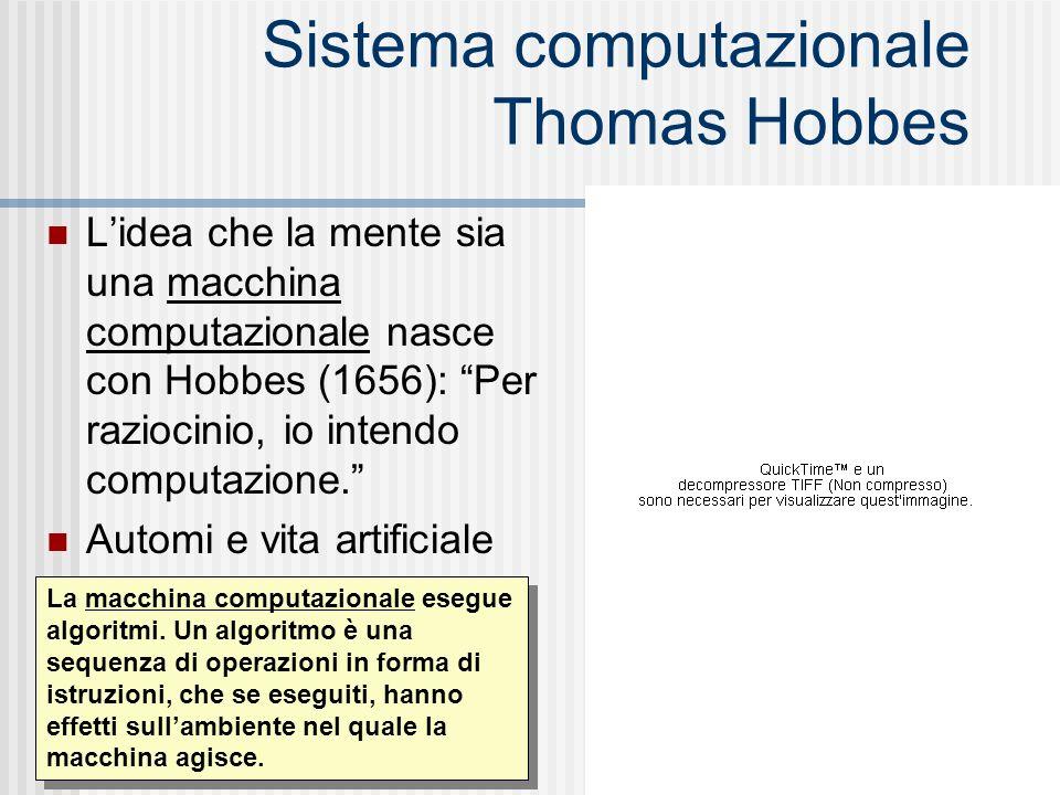 Sistema computazionale Thomas Hobbes Lidea che la mente sia una macchina computazionale nasce con Hobbes (1656): Per raziocinio, io intendo computazio