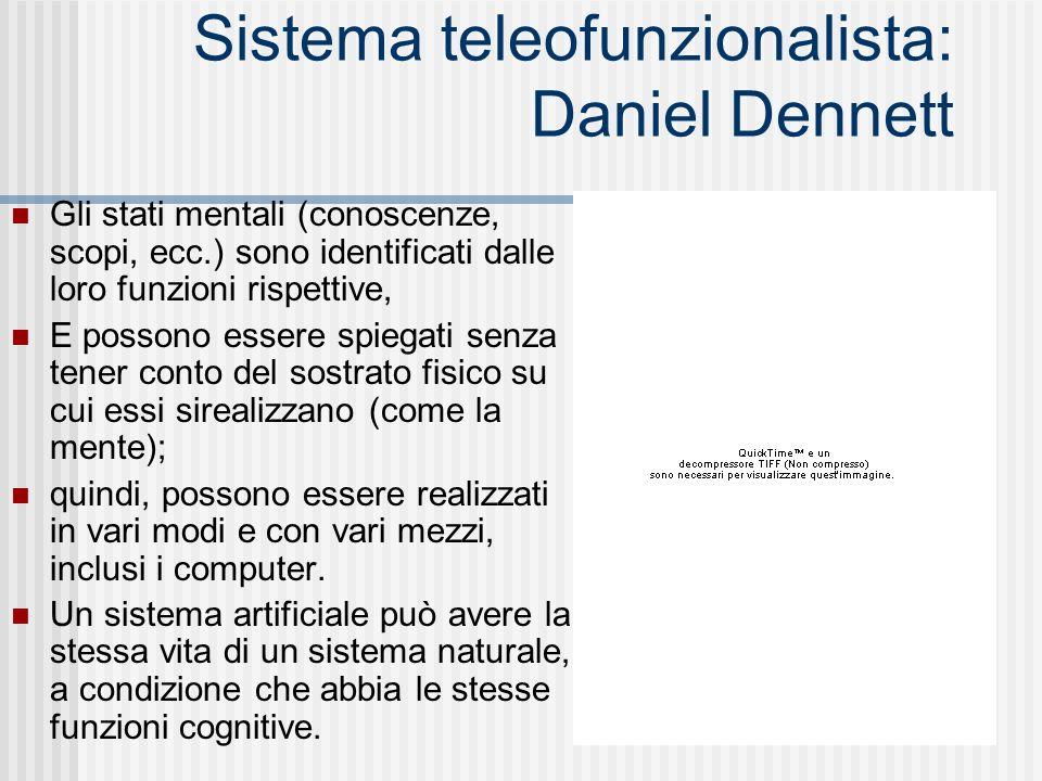 Sistema teleofunzionalista: Daniel Dennett Gli stati mentali (conoscenze, scopi, ecc.) sono identificati dalle loro funzioni rispettive, E possono ess
