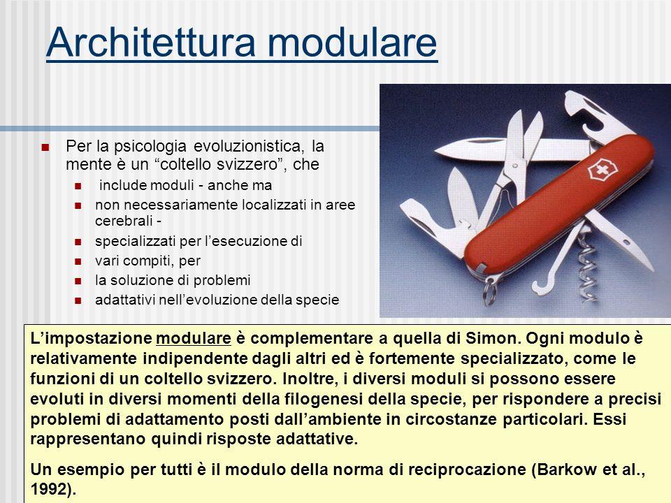 Architettura modulare Per la psicologia evoluzionistica, la mente è un coltello svizzero, che include moduli - anche ma non necessariamente localizzat