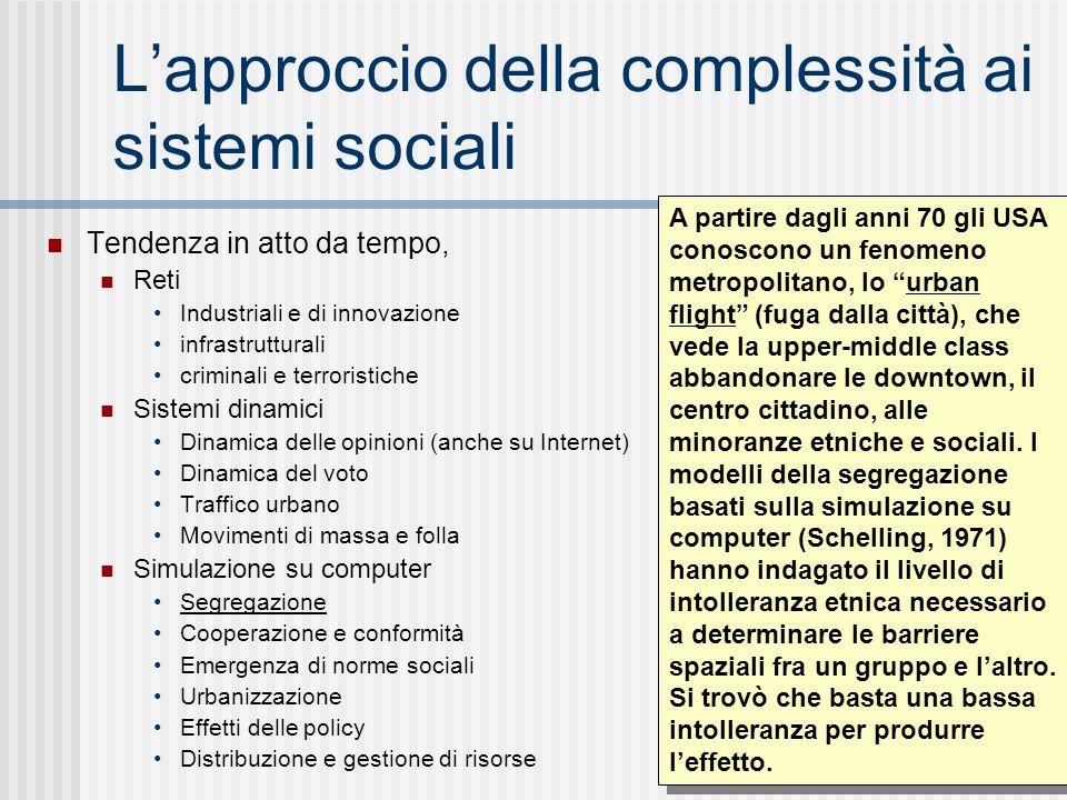 Lapproccio della complessità ai sistemi sociali Tendenza in atto da tempo, Reti Industriali e di innovazione infrastrutturali criminali e terroristich