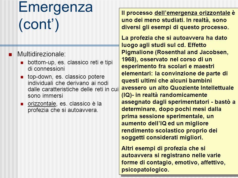 Emergenza (cont) Multidirezionale: bottom-up, es. classico reti e tipi di connessioni top-down, es. classico potere individuali che derivano ai nodi d