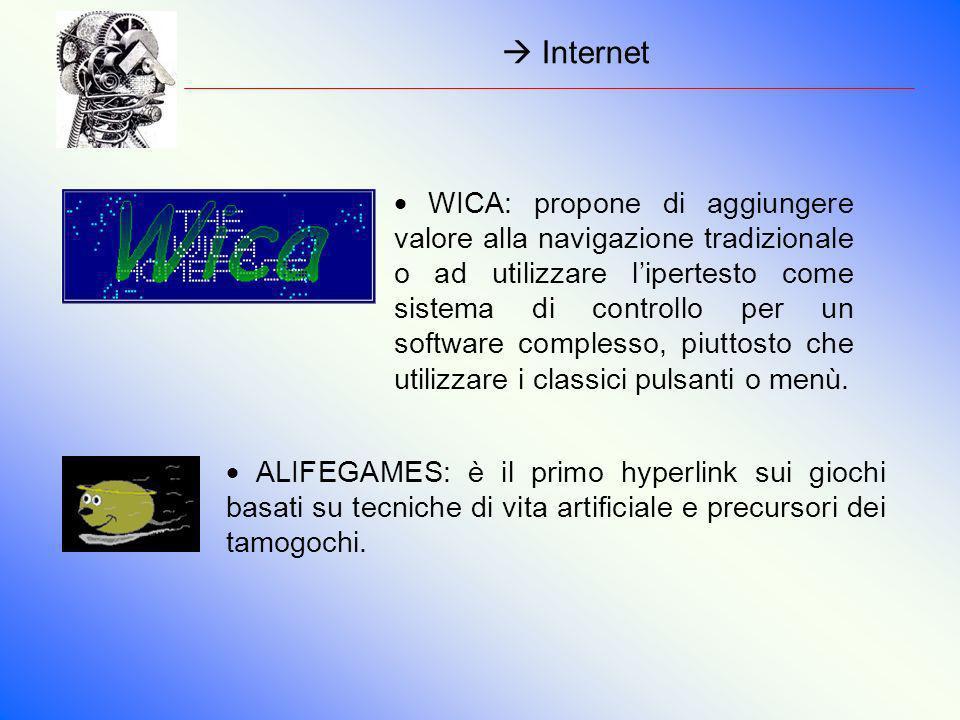 Internet ALIFEGAMES: è il primo hyperlink sui giochi basati su tecniche di vita artificiale e precursori dei tamogochi. WICA: propone di aggiungere va