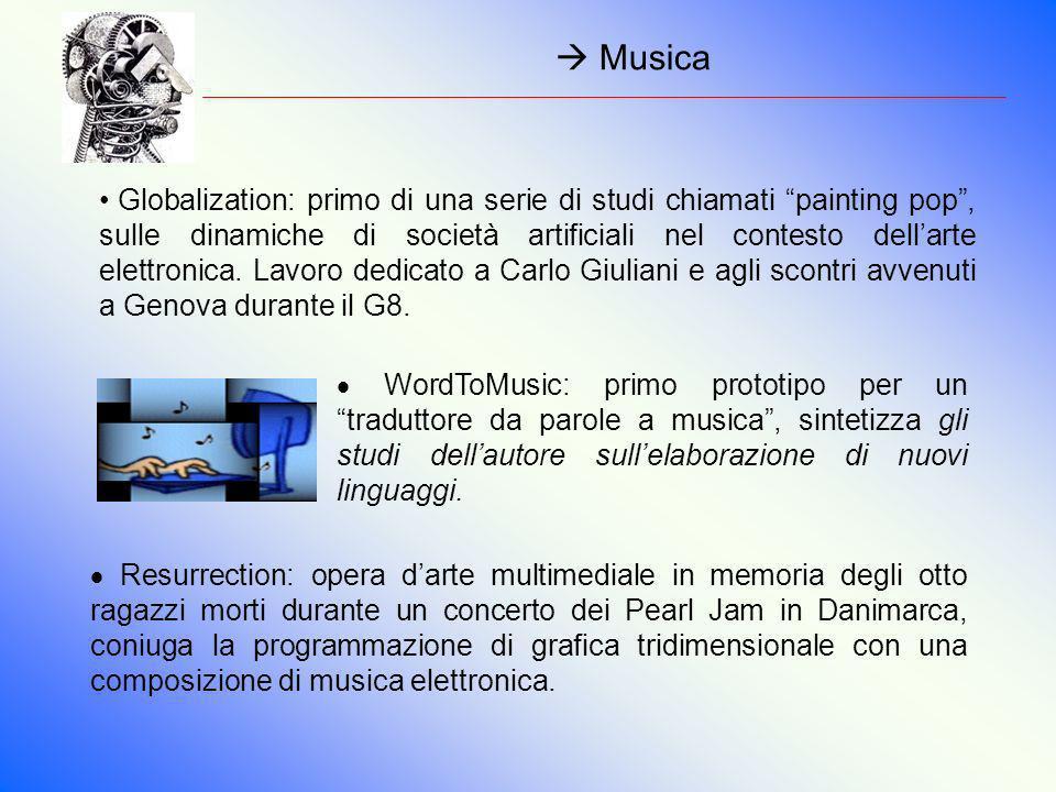 Musica Globalization: primo di una serie di studi chiamati painting pop, sulle dinamiche di società artificiali nel contesto dellarte elettronica. Lav