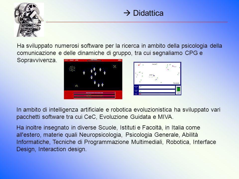 Didattica Ha sviluppato numerosi software per la ricerca in ambito della psicologia della comunicazione e delle dinamiche di gruppo, tra cui segnaliam