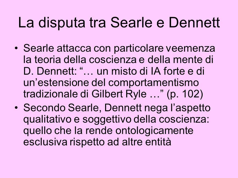 La disputa tra Searle e Dennett Searle attacca con particolare veemenza la teoria della coscienza e della mente di D. Dennett: … un misto di IA forte
