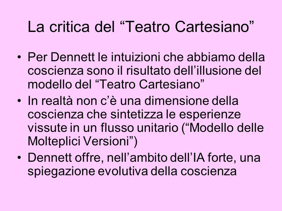 La critica del Teatro Cartesiano Per Dennett le intuizioni che abbiamo della coscienza sono il risultato dellillusione del modello del Teatro Cartesia