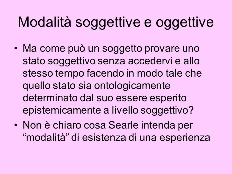 Modalità soggettive e oggettive Ma come può un soggetto provare uno stato soggettivo senza accedervi e allo stesso tempo facendo in modo tale che quel