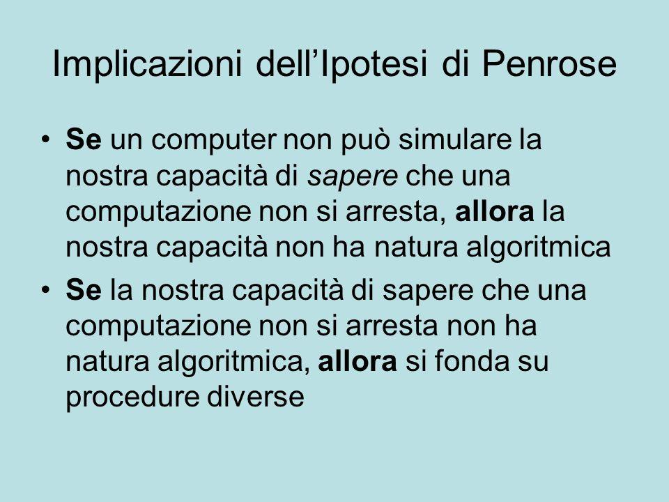 Implicazioni dellIpotesi di Penrose Se un computer non può simulare la nostra capacità di sapere che una computazione non si arresta, allora la nostra