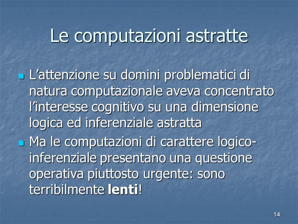 14 Le computazioni astratte Lattenzione su domini problematici di natura computazionale aveva concentrato linteresse cognitivo su una dimensione logic