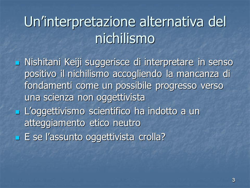 3 Uninterpretazione alternativa del nichilismo Nishitani Keiji suggerisce di interpretare in senso positivo il nichilismo accogliendo la mancanza di f