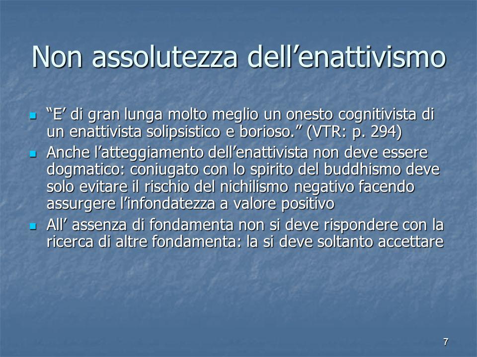7 Non assolutezza dellenattivismo E di gran lunga molto meglio un onesto cognitivista di un enattivista solipsistico e borioso. (VTR: p. 294) E di gra