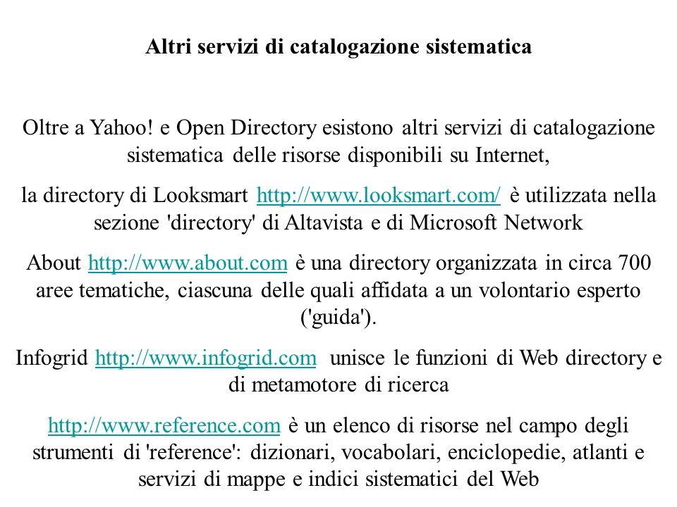 Altri servizi di catalogazione sistematica Oltre a Yahoo.