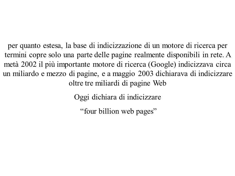per quanto estesa, la base di indicizzazione di un motore di ricerca per termini copre solo una parte delle pagine realmente disponibili in rete.