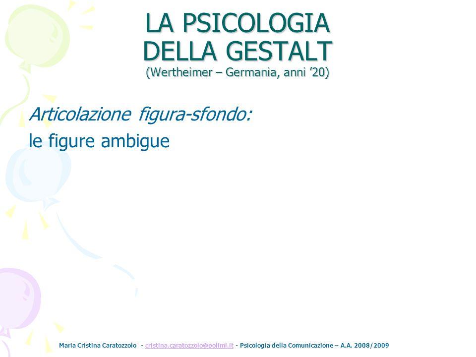 Maria Cristina Caratozzolo - cristina.caratozzolo@polimi.it - Psicologia della Comunicazione – A.A. 2008/2009cristina.caratozzolo@polimi.it Articolazi