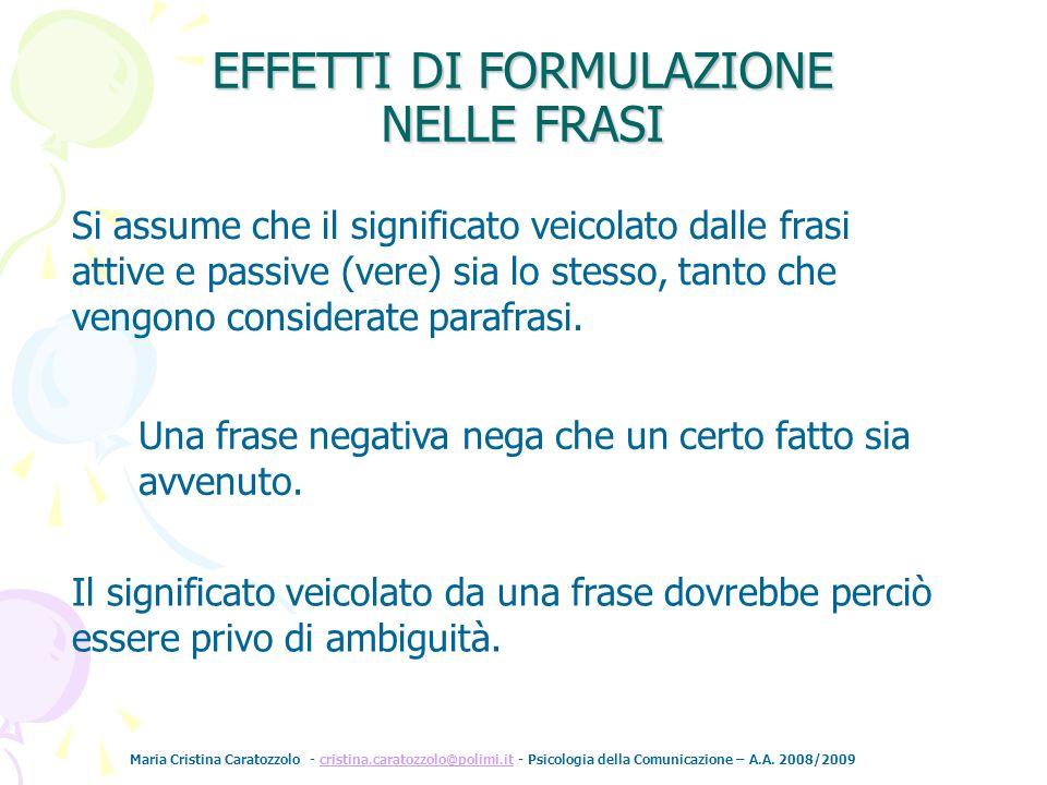 Maria Cristina Caratozzolo - cristina.caratozzolo@polimi.it - Psicologia della Comunicazione – A.A. 2008/2009cristina.caratozzolo@polimi.it Si assume