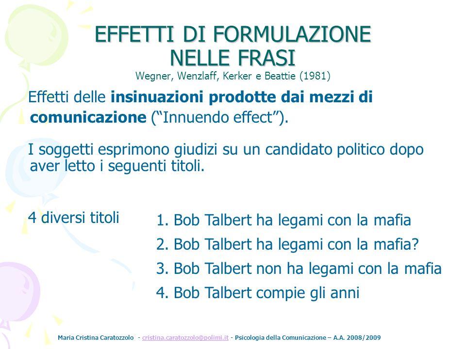 Maria Cristina Caratozzolo - cristina.caratozzolo@polimi.it - Psicologia della Comunicazione – A.A. 2008/2009cristina.caratozzolo@polimi.it Wegner, We