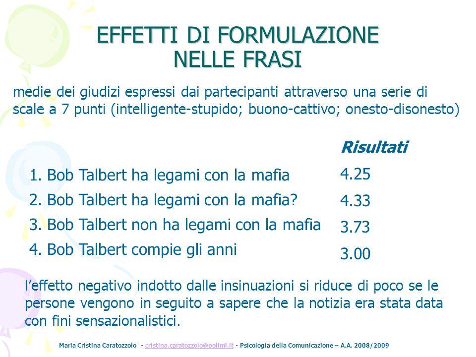 Maria Cristina Caratozzolo - cristina.caratozzolo@polimi.it - Psicologia della Comunicazione – A.A. 2008/2009cristina.caratozzolo@polimi.it Risultati