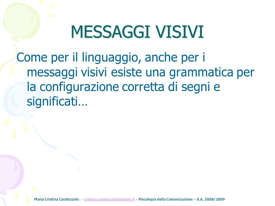 Maria Cristina Caratozzolo - cristina.caratozzolo@polimi.it - Psicologia della Comunicazione – A.A. 2008/2009cristina.caratozzolo@polimi.it MESSAGGI V