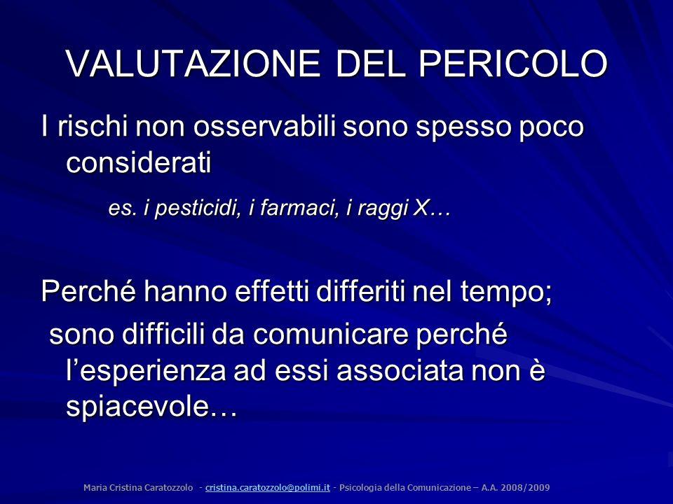 Maria Cristina Caratozzolo - cristina.caratozzolo@polimi.it - Psicologia della Comunicazione – A.A. 2008/2009cristina.caratozzolo@polimi.it VALUTAZION