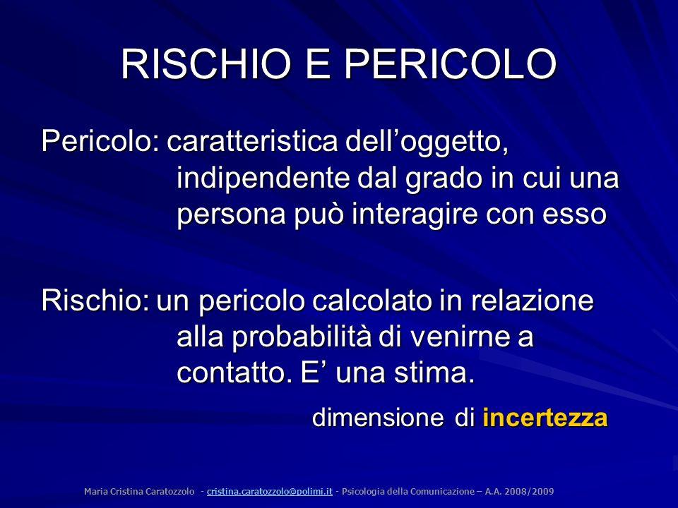 Maria Cristina Caratozzolo - cristina.caratozzolo@polimi.it - Psicologia della Comunicazione – A.A. 2008/2009cristina.caratozzolo@polimi.it RISCHIO E
