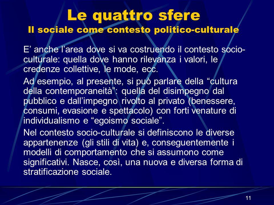 11 E anche larea dove si va costruendo il contesto socio- culturale: quella dove hanno rilevanza i valori, le credenze collettive, le mode, ecc. Ad es