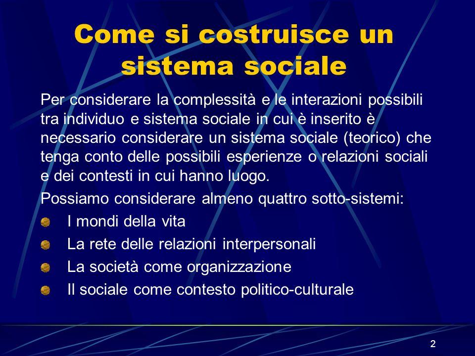 2 Come si costruisce un sistema sociale Per considerare la complessità e le interazioni possibili tra individuo e sistema sociale in cui è inserito è