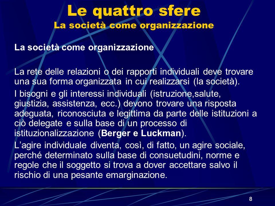 8 La società come organizzazione La rete delle relazioni o dei rapporti individuali deve trovare una sua forma organizzata in cui realizzarsi (la soci