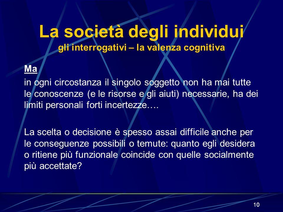 10 La società degli individui gli interrogativi – la valenza cognitiva Ma in ogni circostanza il singolo soggetto non ha mai tutte le conoscenze (e le risorse e gli aiuti) necessarie, ha dei limiti personali forti incertezze….