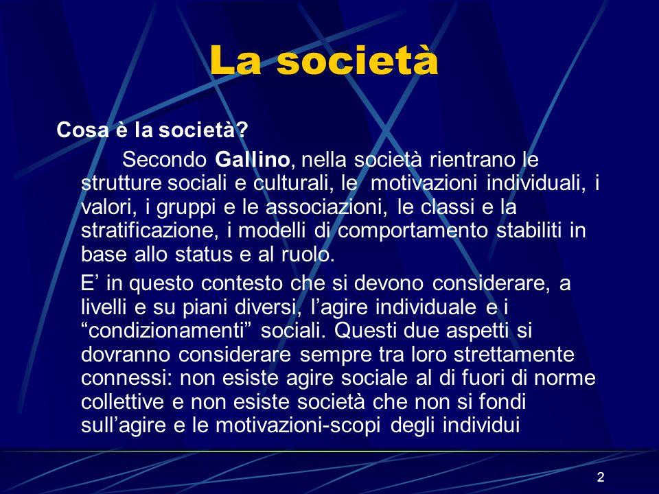 2 La società Cosa è la società.