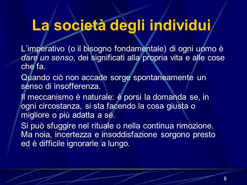 5 La società degli individui Limperativo (o il bisogno fondamentale) di ogni uomo è dare un senso, dei significati alla propria vita e alle cose che fa.