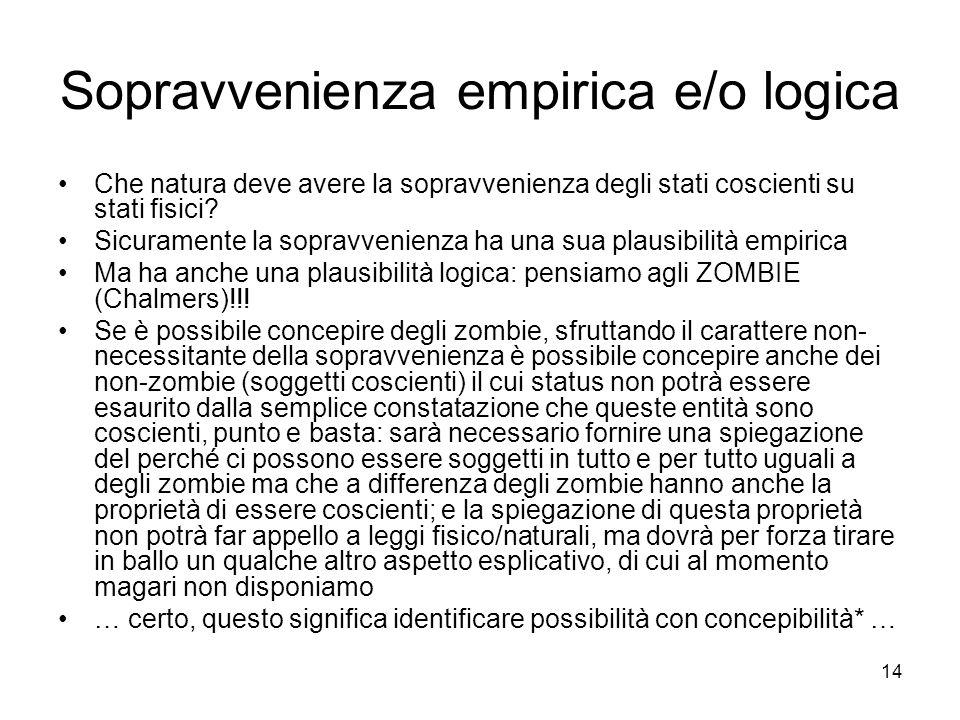 14 Sopravvenienza empirica e/o logica Che natura deve avere la sopravvenienza degli stati coscienti su stati fisici.
