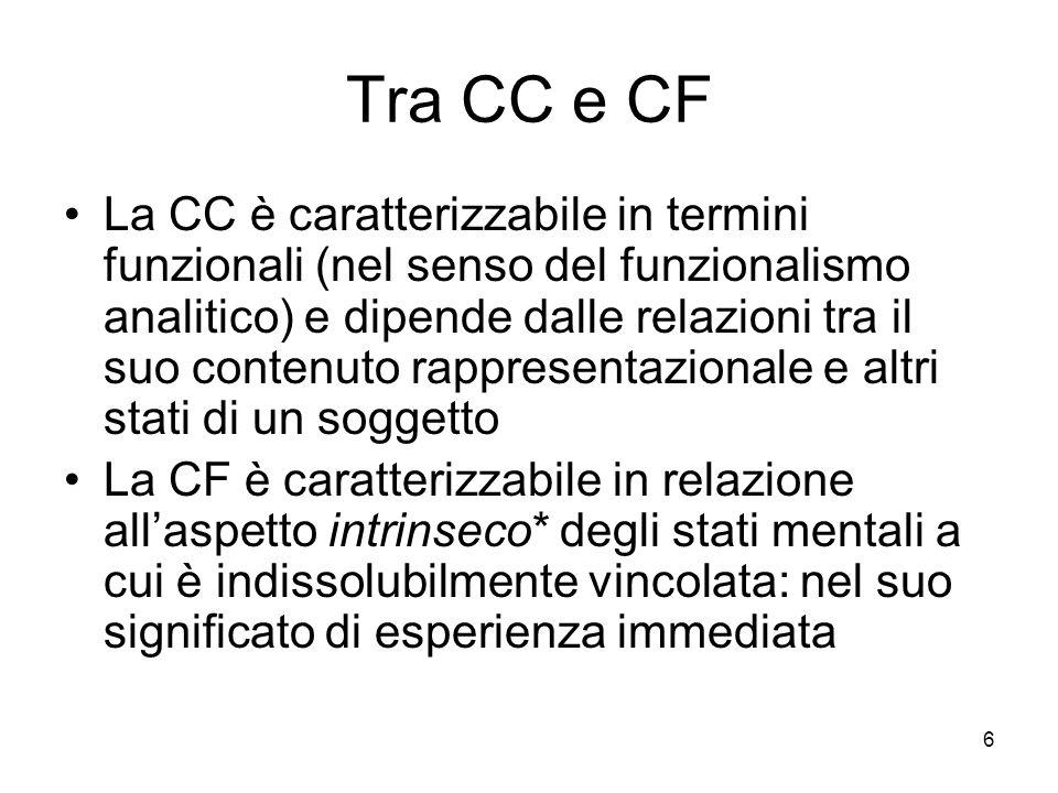 6 Tra CC e CF La CC è caratterizzabile in termini funzionali (nel senso del funzionalismo analitico) e dipende dalle relazioni tra il suo contenuto rappresentazionale e altri stati di un soggetto La CF è caratterizzabile in relazione allaspetto intrinseco* degli stati mentali a cui è indissolubilmente vincolata: nel suo significato di esperienza immediata