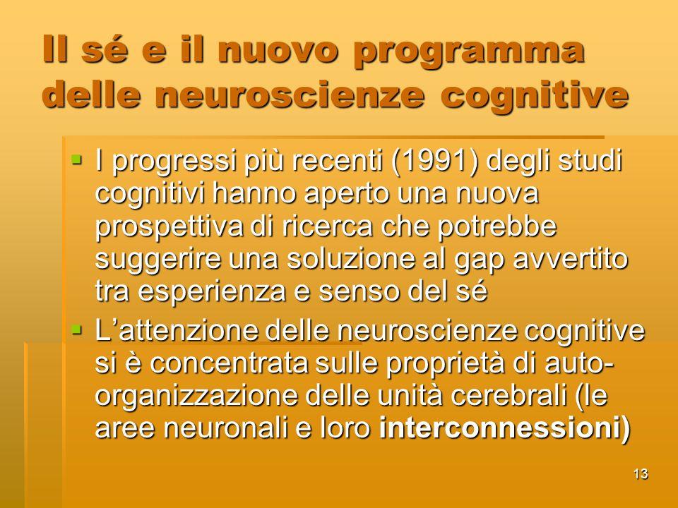 13 Il sé e il nuovo programma delle neuroscienze cognitive I progressi più recenti (1991) degli studi cognitivi hanno aperto una nuova prospettiva di ricerca che potrebbe suggerire una soluzione al gap avvertito tra esperienza e senso del sé I progressi più recenti (1991) degli studi cognitivi hanno aperto una nuova prospettiva di ricerca che potrebbe suggerire una soluzione al gap avvertito tra esperienza e senso del sé Lattenzione delle neuroscienze cognitive si è concentrata sulle proprietà di auto- organizzazione delle unità cerebrali (le aree neuronali e loro interconnessioni) Lattenzione delle neuroscienze cognitive si è concentrata sulle proprietà di auto- organizzazione delle unità cerebrali (le aree neuronali e loro interconnessioni)