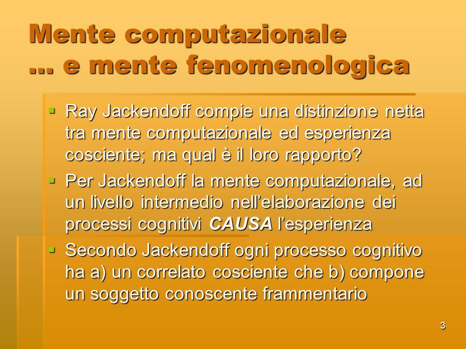 3 Mente computazionale … e mente fenomenologica Ray Jackendoff compie una distinzione netta tra mente computazionale ed esperienza cosciente; ma qual è il loro rapporto.