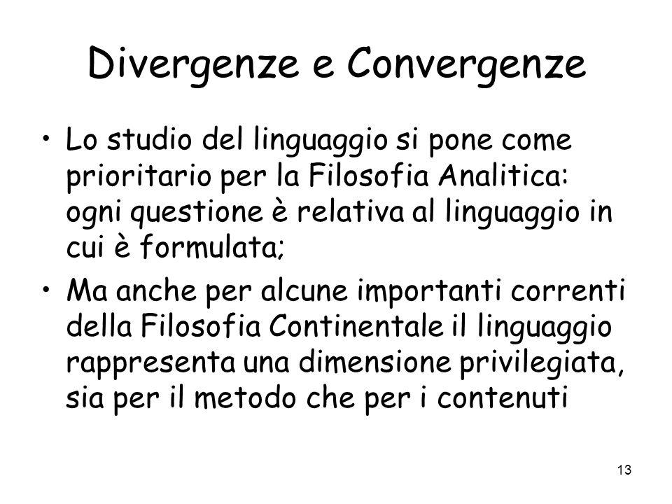 13 Divergenze e Convergenze Lo studio del linguaggio si pone come prioritario per la Filosofia Analitica: ogni questione è relativa al linguaggio in cui è formulata; Ma anche per alcune importanti correnti della Filosofia Continentale il linguaggio rappresenta una dimensione privilegiata, sia per il metodo che per i contenuti
