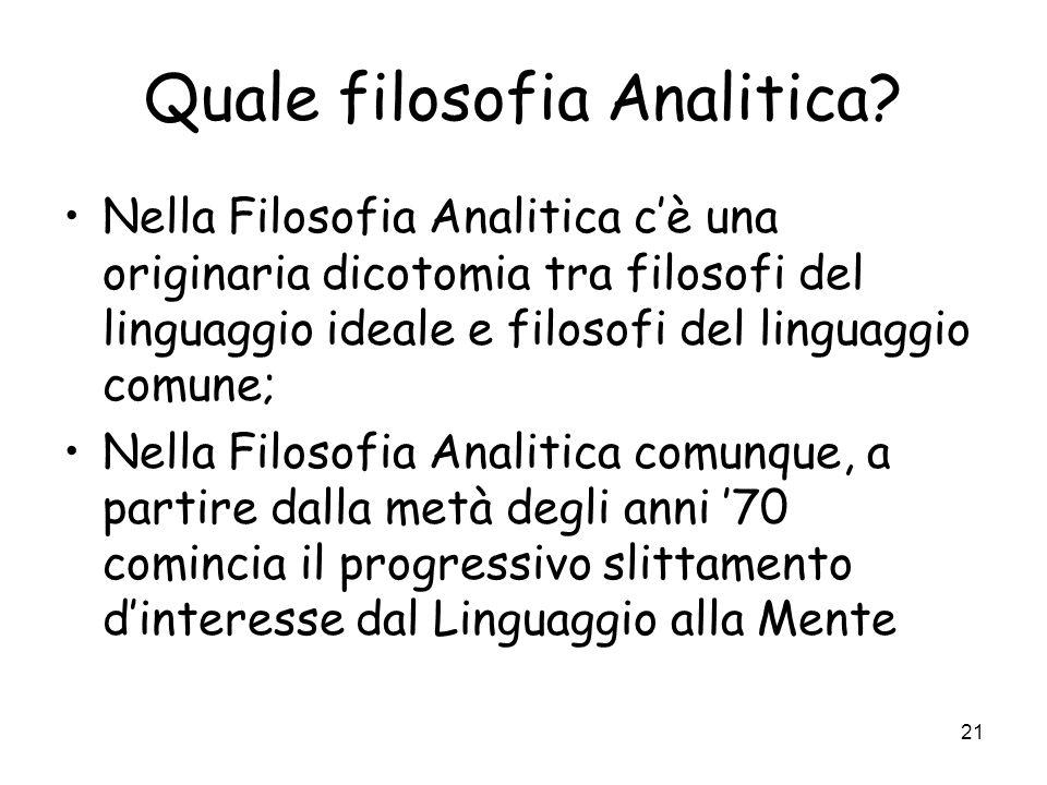 21 Quale filosofia Analitica.