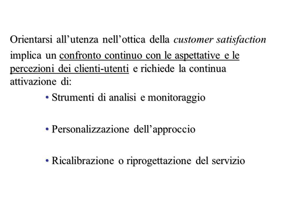 Orientarsi allutenza nellottica della customer satisfaction implica un confronto continuo con le aspettative e le percezioni dei clienti-utenti e rich